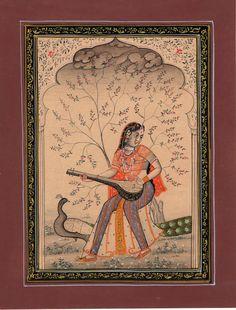 Rajasthan Miniature Painting of Music Ragamala Indian Rajput Vasanta Ragini Art