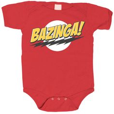 The Big Bang Theory Bazinga! Red Baby Infant Romper Onesie $17.95