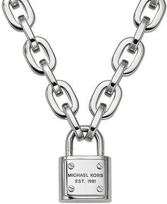 Michael Kors Silver-Tone Chain and Padlock Pendant Necklace