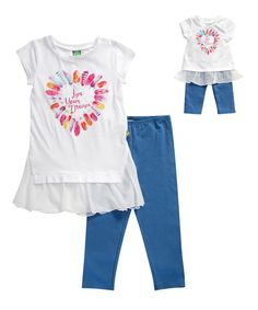 White 'Live Your Dream' Tunic Set & Doll Outfit - Girls