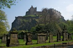 Cemeteries- Edinburgh Castle, Scotland - view from the graveyard