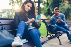 How to Seduce a Girl Online!   #tips #seduction #charming #teen #online  Teenage couple using smartphones in the city park