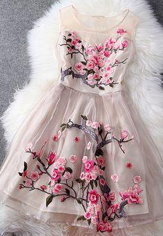 [ghyxh36105]Flower Embroidery Mesh Tank Top Spring Skater Dress