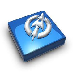Short form logo in metallic blue