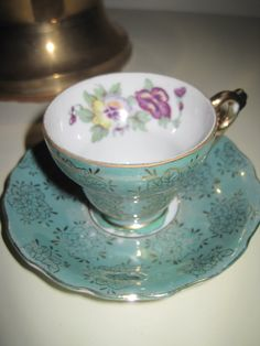 Royal China Teacup and Saucer (Teal Pansy)