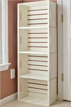 DIY bookshelves made from wooden crates from craft store