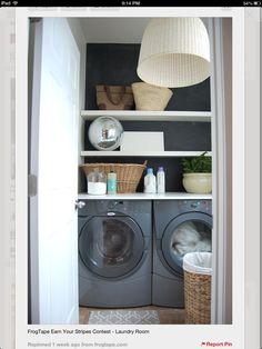 dark grey washer dryer, disco ball, baskets, chalkboard wall, open shelving, laundry room, woven light, beautiful room
