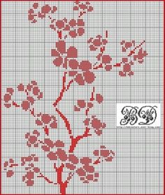 Flowers. Flowering tree branch. Free sewing pattern graph for cross stitch.