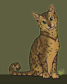 Kipling - Bengal Cat Cartoon Pet Portrait by AlliePets.com
