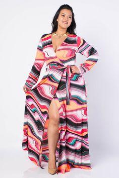 Plus Size High Slit Maxi Dress