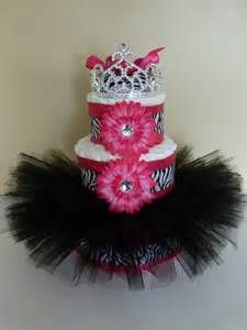 Diva Princess Zebra Tutu Baby Diaper Cake Hot Pink By Mamabijou