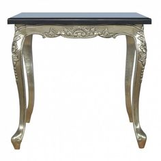 Hand Carved Dining Table Electro-plated Nickel Silver with a Black Marble Top