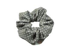 "light grey polka dot cotton scrunchie  by TheScrunchiePuss on Etsy - 22"""
