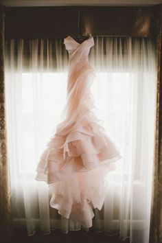 Gorgeous pink ruffled wedding gown