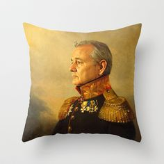 Bill Murray - replaceface Throw Pillow by Replaceface