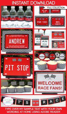 Race Car Party Printables, Invitations & Decorations | Editable Birthday Party Theme Templates | INSTANT DOWNLOAD $12.50 via SIMONEmadeit.com