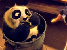 Baby Po - Po as a cute baby with Mr. Ping, the owner of a noodle shop, who was found him in a box of radishes and decided to adopt him as his son, in the American animated film 'Kung Fu Panda 2'