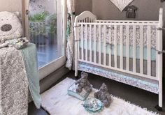 blue gray and white baby bedding | Gray and Blue Baby Crib Bedding