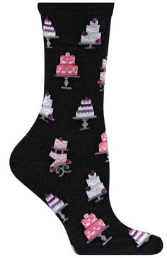 Now your feet can be as beautifully decorated as a wedding cake. Crew length socks with beautifully decorated wedding cakes. Available in black, pink, or pale blue. Fits a women's shoe size Tall Socks, Foot Socks, Unique Socks, Crazy Socks, Happy Socks, All About Fashion, Types Of Shoes, Hosiery, Wedding Cakes
