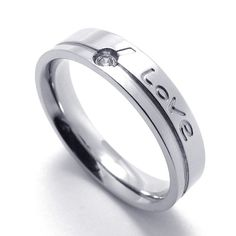 TEMEGO Jewelry Mens Womens Cubic Zirconia Stainless Steel Promise Ring 'Love' Couples Wedding Bands, Silver >>> Discover this special offer, click the image : Women's Fashion for FREE