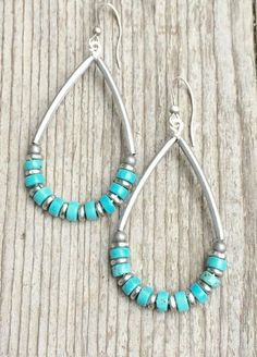 Silver hoop earrings with turquoise turquoise earrings turquoise jewelry boho jewelry festival jewelry