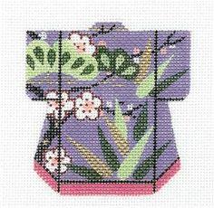 LEE Petite Kimono Bird of Paradise handpainted Needlepoint Canvas