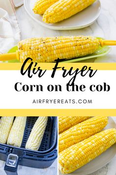 Air Fryer Corn on the Cob will become your new favorite air fryer recipe. Corn in the air fryer is cooked in under 10 minutes and provides a delicious roasted flavor. Kitchen Recipes, Cooking Recipes, Oven Recipes, Top Recipes, Amazing Recipes, Delicious Recipes, Air Fryer Recipes Vegan, Air Fryer Cooking Times, Multi Cooker Recipes