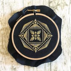 Hand Embroidery Artists you HAVE to follow 3/12:  Jennifer Plott, otherwise known as Seaside Fox Artwork, is the modern ambassador of embroidery black work. Her work uses simple symmetrical shapes and patterns but the results are stunning and surprisingly hard to recreate. Based in the US Jennifer sells her designs on the Etsy platform and her work is enjoyed by over 70,000 plus fans on Instagram. Geometric Embroidery, Hand Embroidery Stitches, Embroidery Hoop Art, Hand Embroidery Designs, Cross Stitch Embroidery, Pearl Embroidery, Hand Stitching, Textiles, Blackwork