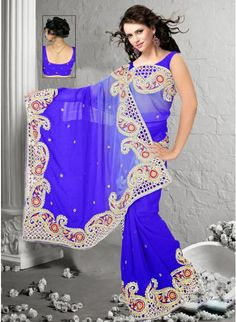 Royal Blue Ombrey Chiffon #Saree With Zari & Resham Work