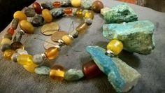 Chrysocolla chunks, Chrysocolla faceted matte beads, amber palette of Tibetan beads