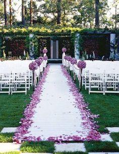 Imagine walking down this beautiful plum and white aisle. Stunning!