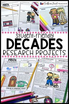 Research project posters that are fun and engaging? These research project posters on the decades are student-friendly, guide your students in what to research, and look fabulous on display! Critical Thinking Activities, Social Studies Activities, Art Activities, Classroom Hacks, Whole Brain Teaching, Learning Styles, Research Projects, Poster On, Anchor Charts