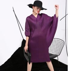 Crimp Pattern Batwing Sleeve Knee Length Dress