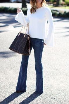 Top: Topshop | Denim: James Jeans | Shoes: Christian Louboutin | Handbag: Louis Vuitton 'Neverfull GM' | Watch: Mi...
