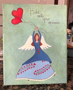 Folk art angel, acrylic on canvas