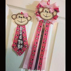 Pink pink Monkey. Baby shower mum/corsage &!Dad to be tie.