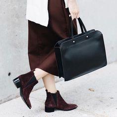 Burgundy + black  #burgundy #black #chelseaboot #boots