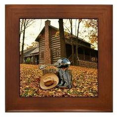 Mandolin, Boots, and a Cabin in the Woods Framed Tile ($9.99)
