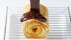 卵焼き器で簡単!チョコバームクーヘン Fresh Cream, French Pastries, Omelet, Melted Butter, Peanut Butter, Oven, Deserts, Cooking Recipes, Bread