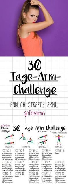 30 Day Arm Challenge: Battle the limp Wink arms! 30 Tage Arm-Challenge: Sag den schlaffen Winkearmen den Kampf an! The whole challenge is there to print gofeminin.de, Say goodbye to Winkearmen - with the arm challenge you get tight arms! Fitness Workouts, Fitness Herausforderungen, Lower Ab Workouts, Easy Workouts, At Home Workouts, Fitness Motivation, Health Fitness, Monthly Workouts, Fitness Online