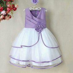 Vestido nina lila y blanco