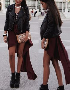 leather & high low dress