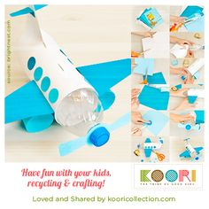 Save those soda or juice bottles to make this beautiful airplane piggy bank.  See the image for step by step instructions. Have fun with your kids recycling and crafting!   (source: https://brightnest.com/posts/for-kids-make-a-unique-piggy-bank-out-of-a-plastic-bottle)