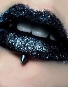 black glitter and spiked lips