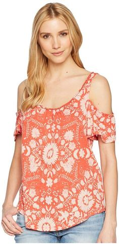 8f048802c10915 Lucky brand floral cold shoulder top