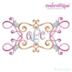 Font Frames :: Curly Vintage Scroll Font Frame 3 - Machine Embroidery File - Embroitique Digital Machine Embroidery Designs Instant Downloads