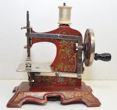 Antique German Child's Child Size Red Metal Hand Crank Sewing Machine Toy RARE
