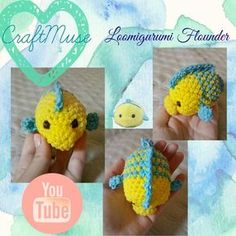 Rainbow Loom Loomigurumi Flounder (Inspired by TSUM TSUM) I have been dying for the Ursula tsum tsum Rainbow Loom Tutorials, Rainbow Loom Patterns, Rainbow Loom Creations, Rainbow Loom Bands, Rainbow Loom Charms, Rainbow Loom Bracelets, Loom Bands Designs, Loom Band Patterns, Loom Love