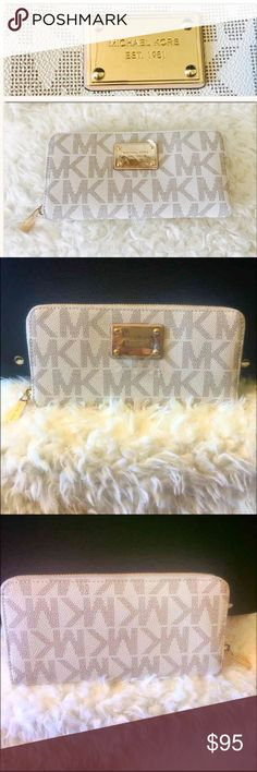 "Michael Kors Wallet NWOT: Michael Kors (MK) Women's Wallet Dimensions: 8"" x 4"" Color: White/Gold Retail:$158.00 Michael Kors Bags Wallets"