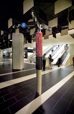 Example of Wayfinding based on city laneway environment, using common street furniture as inspiration   - Melbourne Central